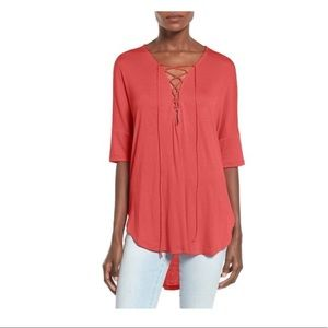 Lush red lace up tunic top
